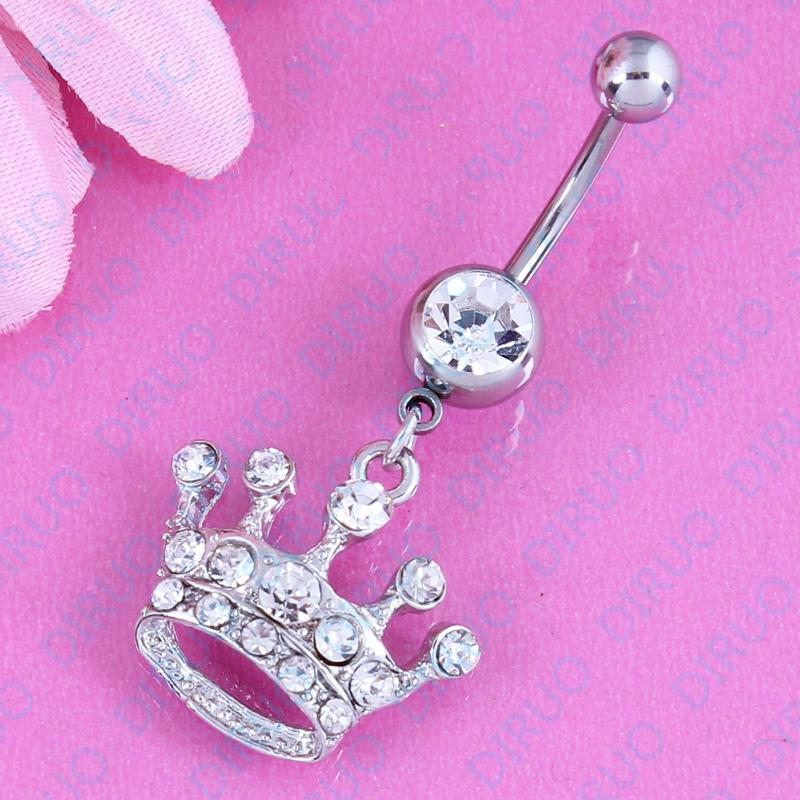 Dangle Imperial crown white Belly bar fashion women body piercing Jewelry belly button ring 14G 316L Surgical Steel
