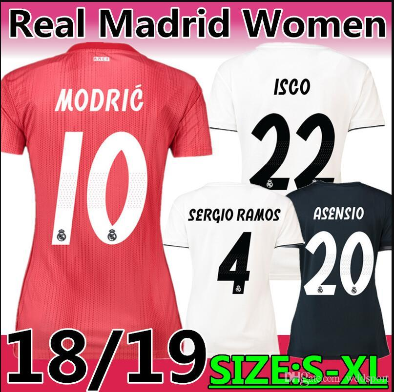more photos 25d37 06fb2 18/19 season #10 MODRIC Real Madrid Third Kit pink Soccer Jersey 2019 #7  Mariano ISCO BALE home lady top quality Football uniform