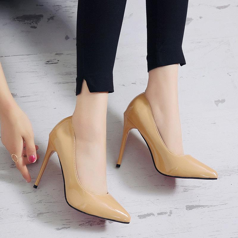 a69775f63c6d9 Dress Women Shoes Patent Leather High Heels Classic Office Pumps Ladies  Sexy Stiletto Pointed Toe Shallow Party Wedding Shoes
