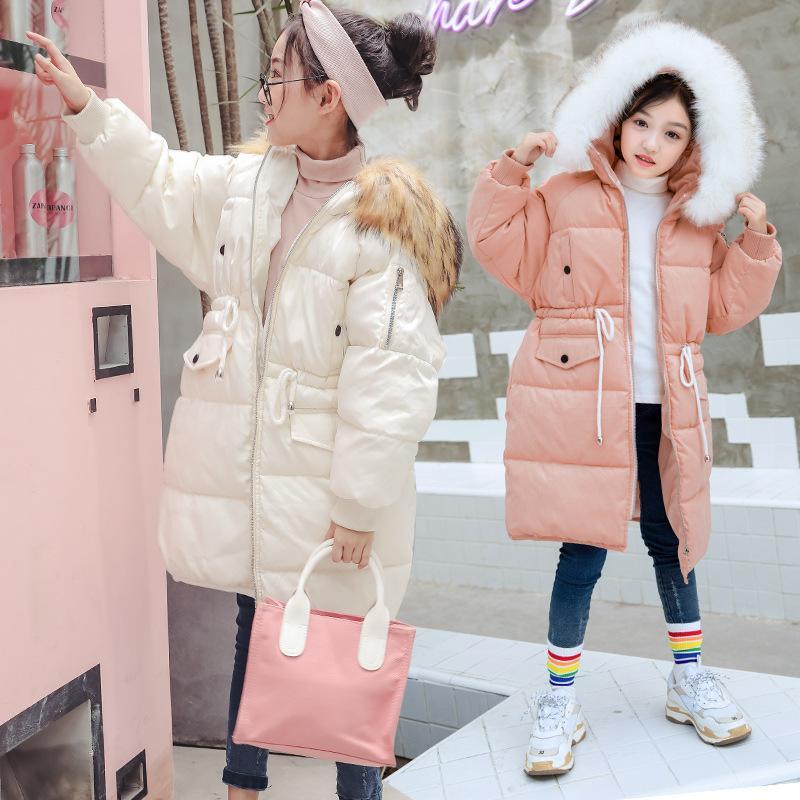 6152c9164 Mode Filles Coton Vers Le Bas Vestes 4 5 6 7 8 9 10 11 12 13 14 Ans  Adolescents Bébé Fille Vêtements D hiver À Capuche Épaississement Vestes