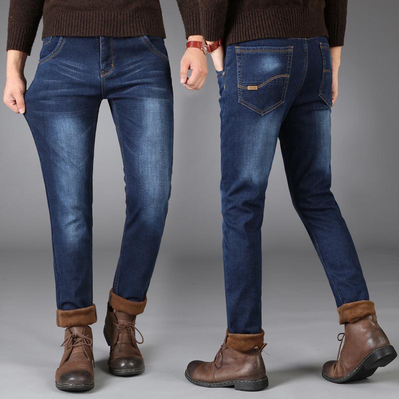 Compre 2019 Recién Color Azul Elegante Casual De Invierno Jeans Para Hombre  Moda Simple Terciopelo Caliente Jeans Hombres Gruesos Pantalones De Felpa  ... 6672391fb19