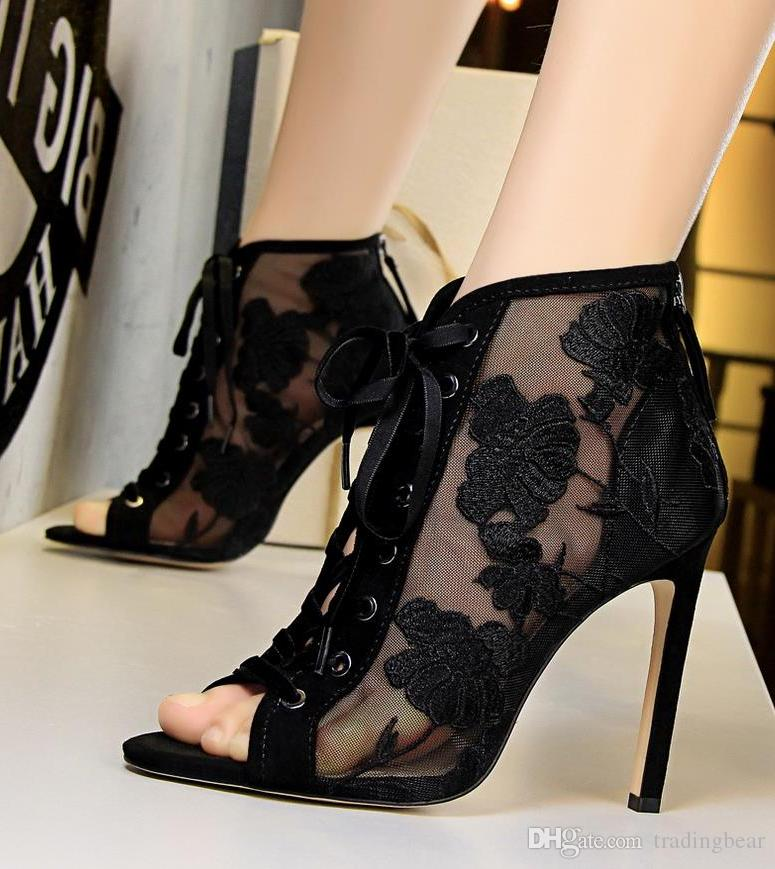 Sexy floral embroidery meshy lace up high heels peep toe shoes fashion luxury designer women shoes size 34 to 40