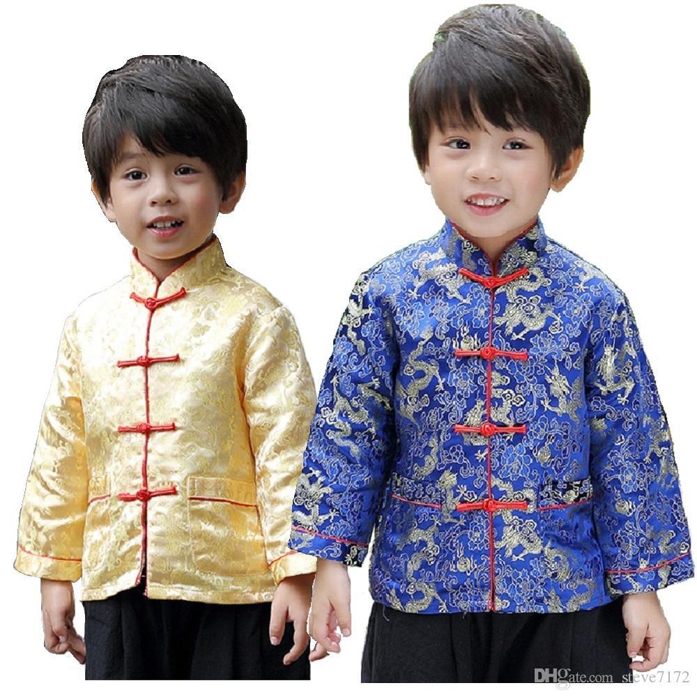 5de7cc2234417 Acheter 2019 Festival Du Nouvel An Chinois Enfants Veste Garçons Vêtements  Costumes Costume Bébé Garçon Manteau Rouge Marine Costumes Jaune  Survêtement De ...