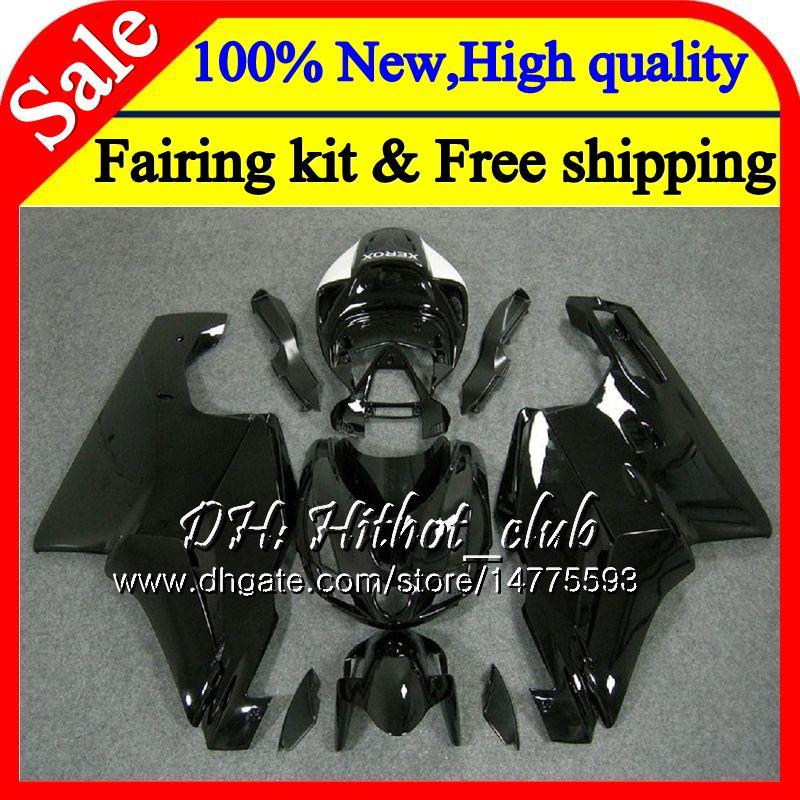 Glossy black Body For DUCATI 749R 999R 05-06 749 999 2005 2006 17HT1 749 999 R MotorcyHTe Bodywork 749S 999S 05 06 black Fairing Bodywork
