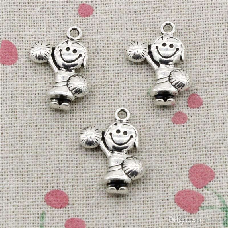 76pcs Charms cheerleaders girl 22*15mm Pendant,Tibetan Silver Pendant,For DIY Necklace & Bracelets Jewelry Accessories
