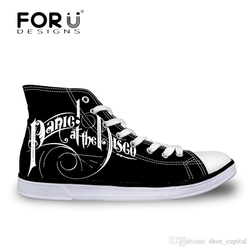 Forudesigns Custom Images Or Logo Men High Top Canvas Shoes Classis Lace-up Vulcanized Shoes Fashion Students Boys Flat Shoes Men's Vulcanize Shoes Shoes