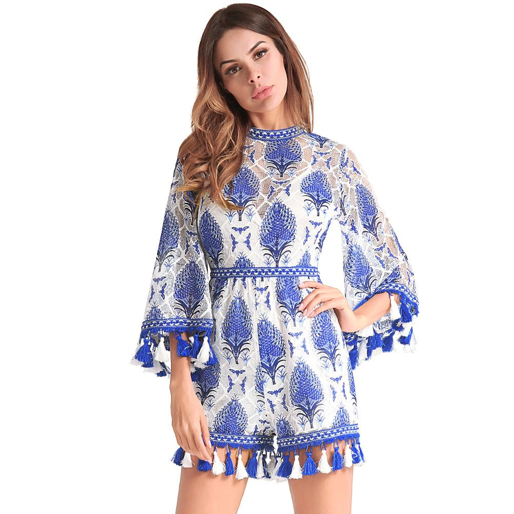 8bb4724d26f81 2019 Women Embroidery Rompers Flared Sleeve Tassels Fringed Cutout Back  Female Slim Fit Jumpsuits Summer Ladies Short Playsuits Blue From Bibei02,  ...