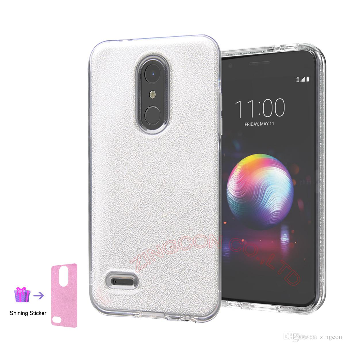 Phone Case for LG K10,LG Premier Pro LTE,LG K30,Soft TPU & Hard PC Dual  Layer Protective DIY Clear Case with 2 slim/Thin Stickers Inside