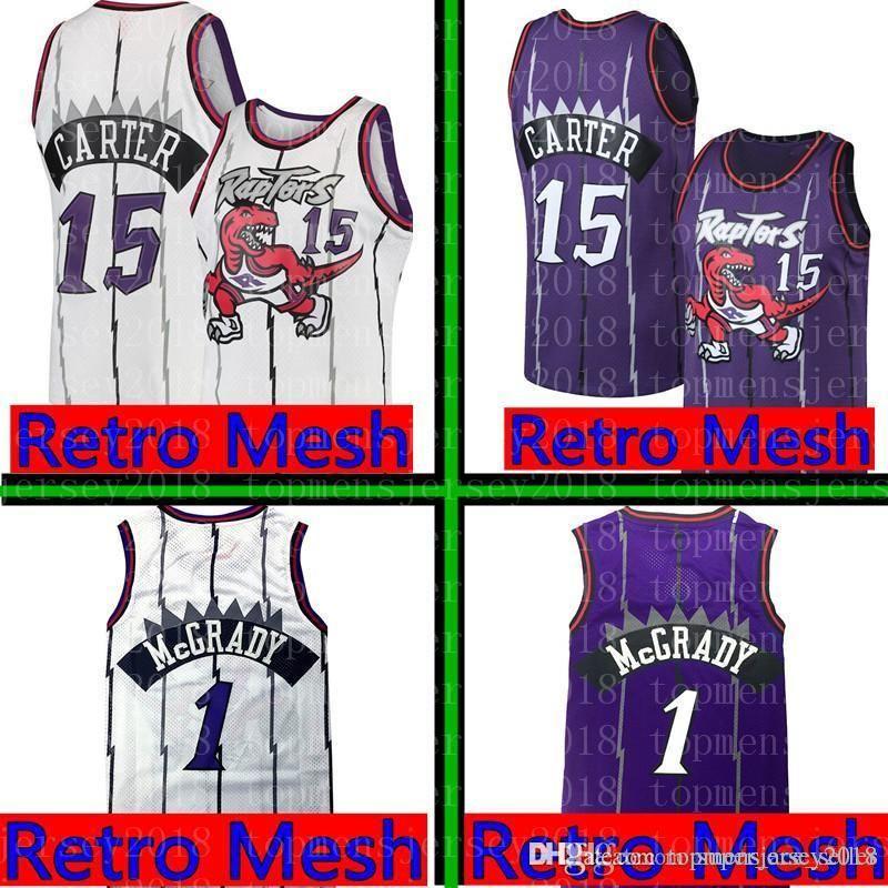 84c4ecfdfc3 2019 Raptors Vince 15 Carter Tracy 1 McGrady Jersey Mens Toronto Retro Mesh  Raptors Basketball Jerseys Purple White S XXL From Topmensjersey2018, ...