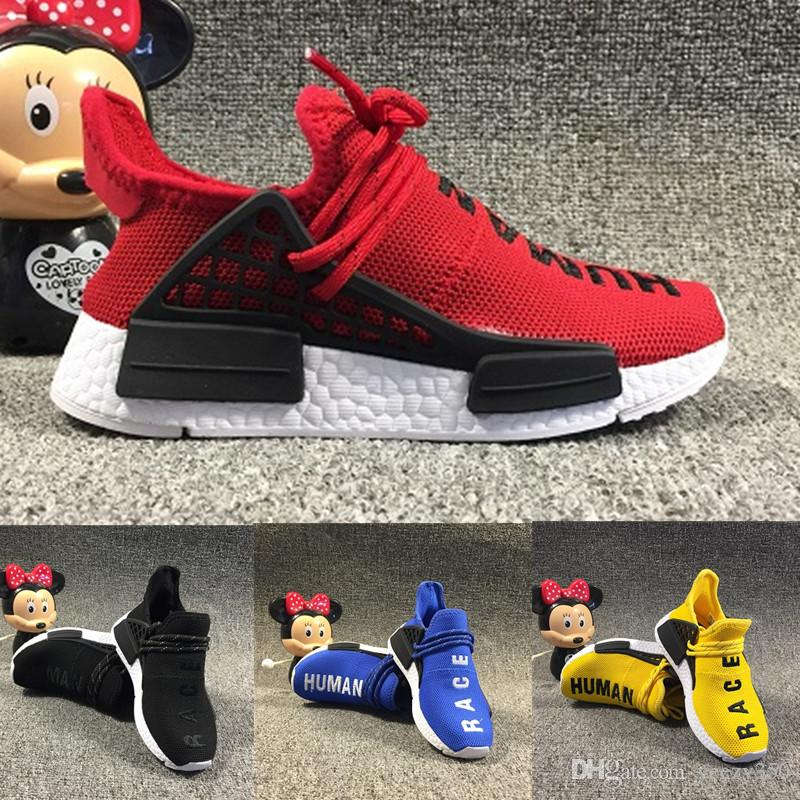 f500c8f379f Infant Pharrell Williams Human Race Children Kids Sports Shoes Outdoor  Girls And Boys Running Shoes Black Yellow Red HU Toddler Footwear Best Shoes  For ...