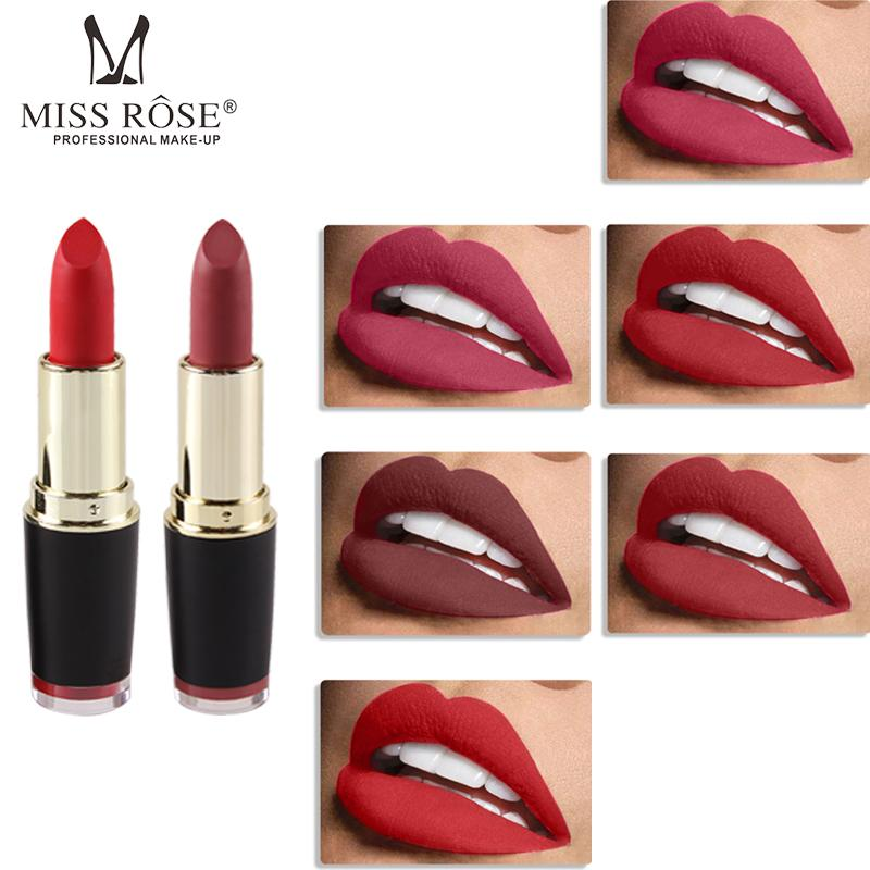 Miss Rose Matte Lipstick Makeup Lip Sexy Color Easy To Wear Long-lasting Lip Gloss Waterproof Nude Tint Velvet Makeup Lipstick