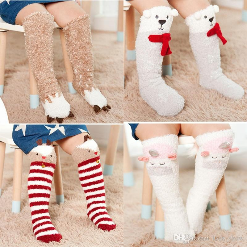 31dc364d44c Cartoon Animal Kids Socks Full Winter Coral Fleece Warm Baby Boys Girls Knee  High Socksing Deer Unicorn Koala Bear Sock Baby Knee Pad Sock Catalog Brand  Of ...