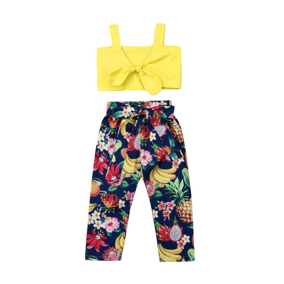 2adet Bebek Kız bebekler Çiçek yazlık kıyafetler Seti Bow Top Meyve Baskı Uzun Pantolon Sunsuit Çocuk Giyim Seti 2-7Y Dropshipping