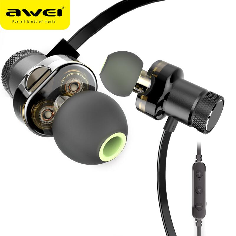 AWEI T13 Earphone Dual Driver Wireless Headphones For Phone Hi-Fi Stereo Sound Headset Earbuds With Mic Fone de ouvido