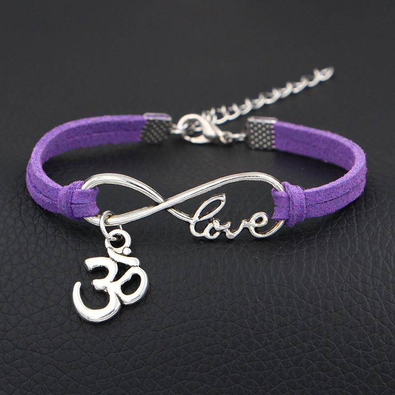 Gothic Punk Metal Vintage Infinity Love 3D Shape Sign Purple Leather Suede Bracelet Wristband Cuff Bangles Cool Men Women Multilayer Jewelry