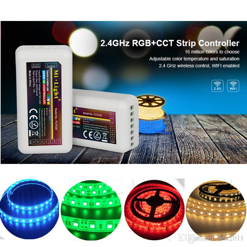 12-24V Mi light 2.4GHz RGB+CCT Strip Controller FUT039 Adjustable Color Temperature Wireless Intuitive Touch Remote control Receiver