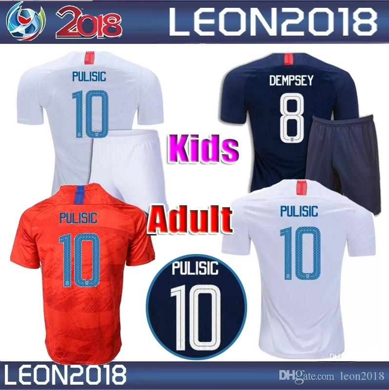 the latest 7baba f5781 Adult kids 2018 2019 USA PULISIC Soccer Jersey 18 19 DEMPSEY BRADLEY  ALTIDORE WOOD America Football jerseys youth United States Shirt