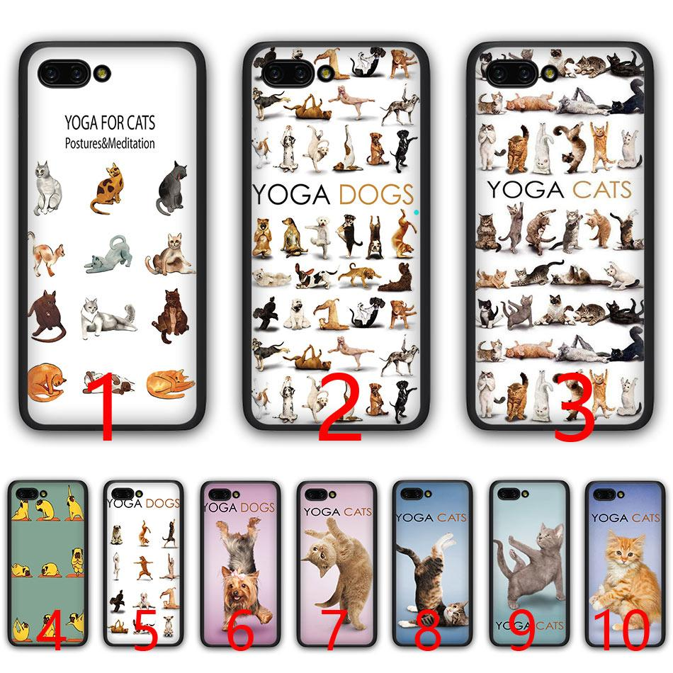 Yoga Cats dogs Soft Silicone Black TPU Phone Case for Huawei Honor 6A 7A Pro 7C 7X 8X 8 9 10 Lite