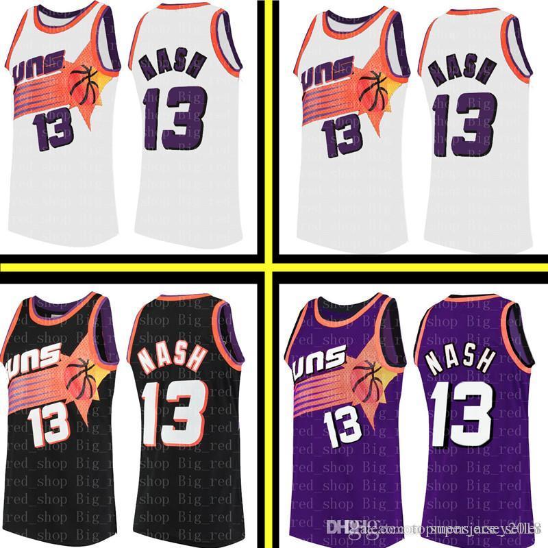 sale retailer 00292 43235 Men s Phoenix Basketball Suns Steve 13 Nash Mitchell & Ness 1996-97  Hardwood # Classics Swingman Jersey Retro Mesh Black White Purple
