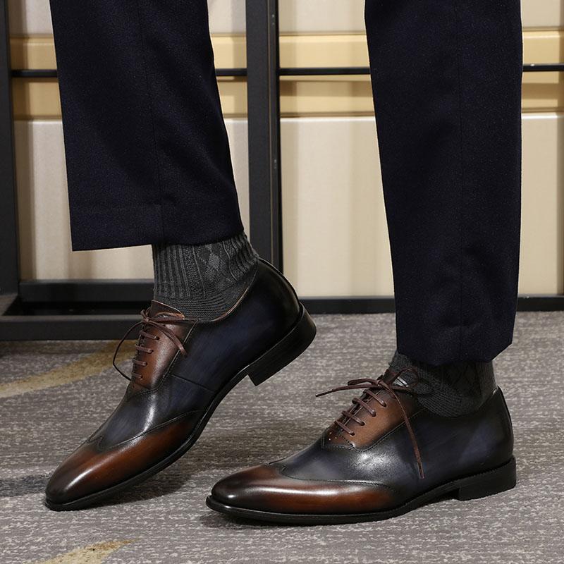 80dbdae2 Compre FELIX CHU Moderno Wingtip Toe Oxford Calzado De Cuero Genuino Para  Hombres Con Cordones Zapatos Formales Colores Mezclados Moda Zapatos De  Vestir ...