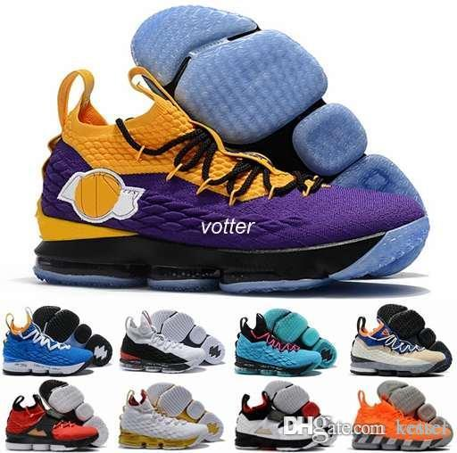 f94da8ff3ec3 2018 Playoffs 15 XV EP South Coast Black Purple Yellow Laker Mens Games  Basketball Shoes 15s Casual Designer Sports Sneakers Size 7 12 Sports Shoes  For ...