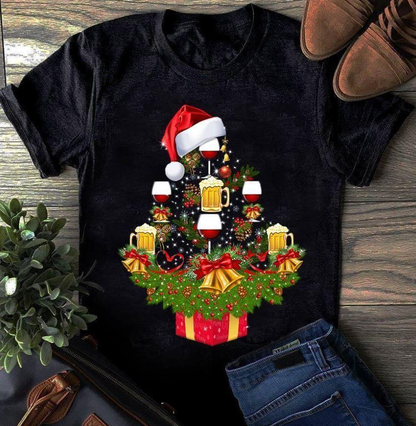 Wine Christmas Tree Shirt.Beer And Wine Christmas Tree Shirt Xmas And Happy Newyear S 3xl Short Sleeve Tshirt Tops Hip Hop Short Sleeve High Quality Cotton