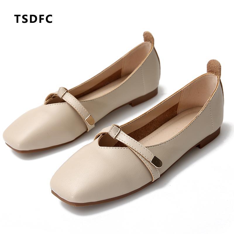 9a56c32fffd5 Negro Blanco Zapatos de cuero genuino Hebilla Mary Janes Zapatos mocasines  para mujer Pisos blandos Moda para mujer Trabajo para dama