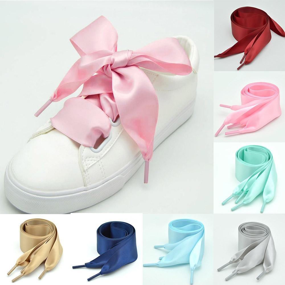 8e05fcdbaf57 2019 4CM Width Silk Flat Shoe Laces Satin Silk Ribbon Shoelaces Women Sneakers  Shoe Strings Shoelace 110cm Length From Xiamenshoes