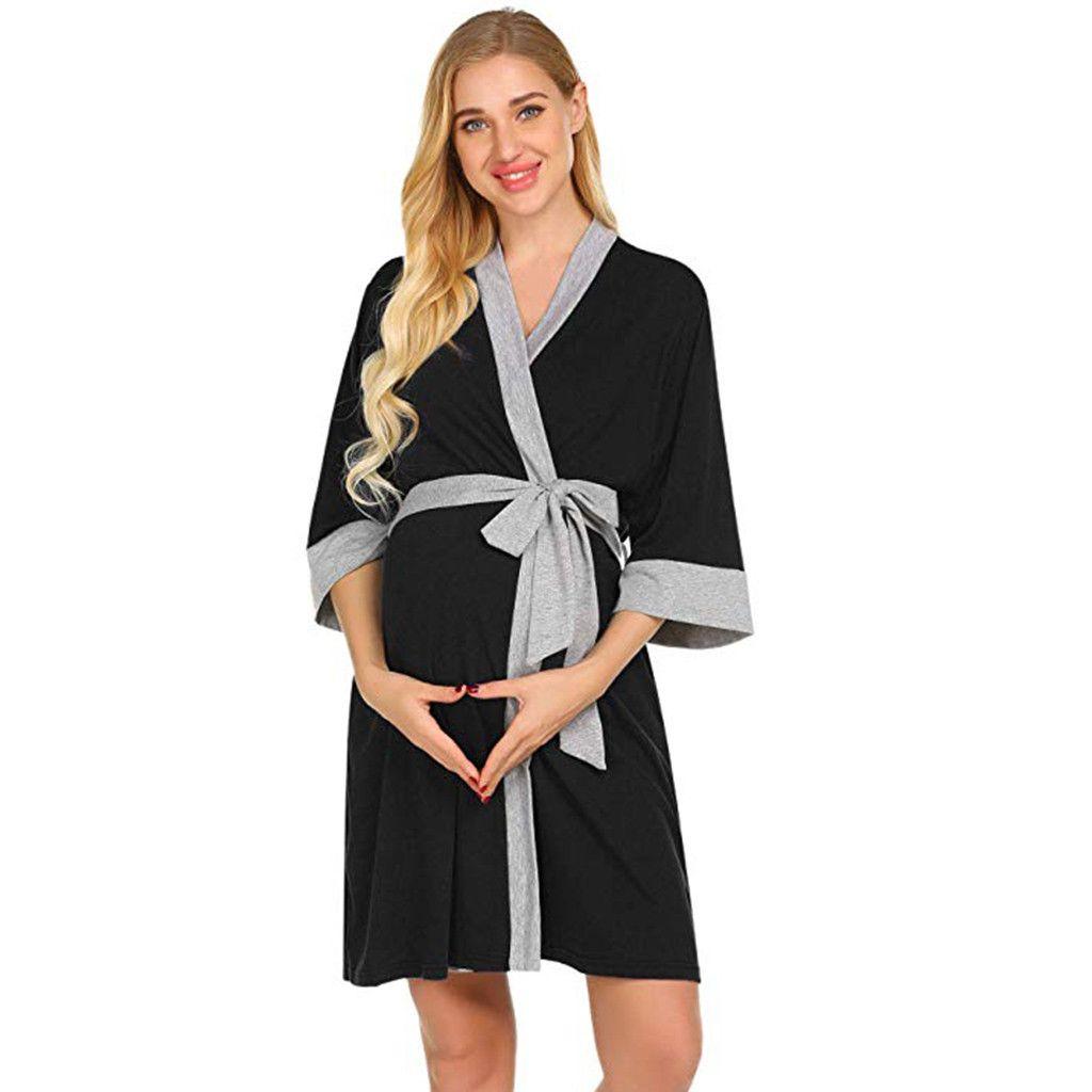 c0f7c327a Compre Bata De Maternidad Bata De Parto Camisones Hospital Bata De  Amamantamiento Ropa De Parto Bata De Dormir Camisas De Dormir Para Pijamas  De Lactancia ...