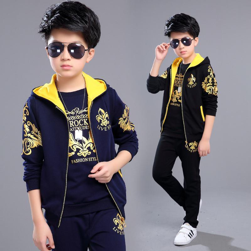 Acquista Alta Qualità 2019 Autunno Inverno Moda Abbigliamento Bambini  Capretto Cappotto + T Shirt + Pant 3 Pezzi Ragazza Ragazzo Abbigliamento Set  5 12 Anni ... c3d0bda0cbf