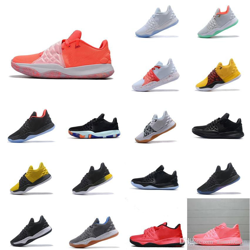 sports shoes c390c eba1c Men kyrie low cut basketball shoes limited gold black white orange team red  youth kids kyries irving Flytrap sports sneakers tennis with box