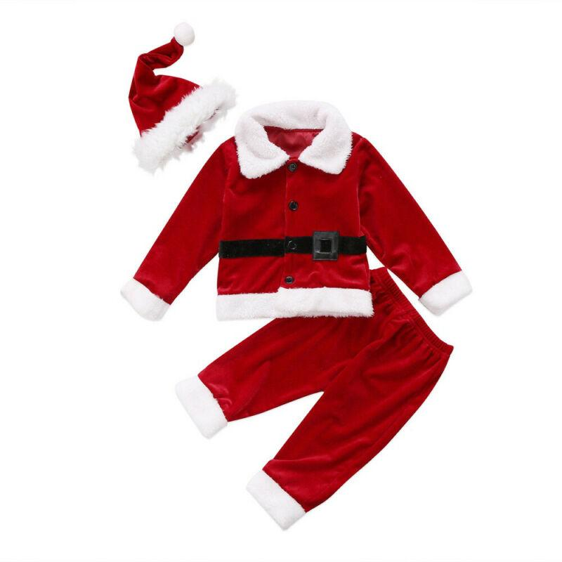 Baby Boy Clothes Christmas Toddler Baby Boy Xmas Santa Claus Costume Top Pants Hat Outfit