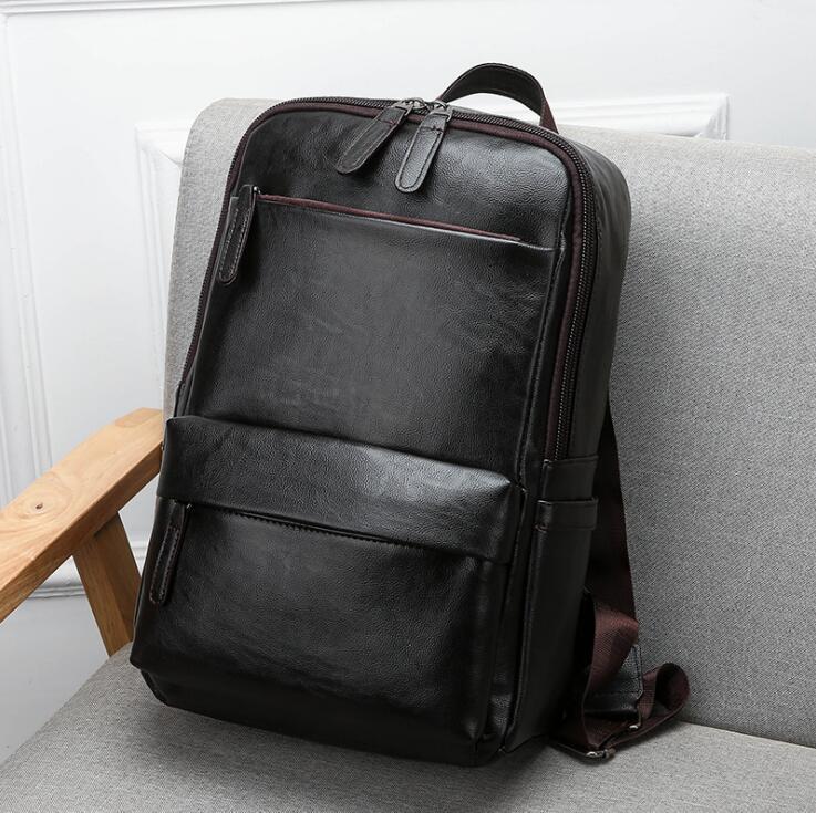 2906061c4f8b Wholesale Brand Men Handbag Multifunction Leather Backpack Waterproof  Lightweight Leather Student Backpack Fashion Contrast Color Travel Bac  Rucksacks ...