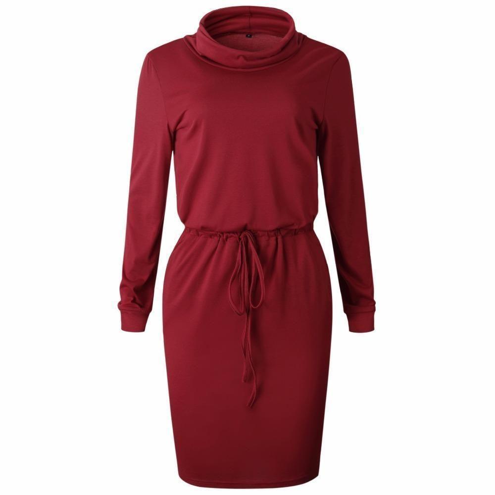 2507392220 High Quality Autumn Winter 2019 Casual Women Dress Long Sleeve ...