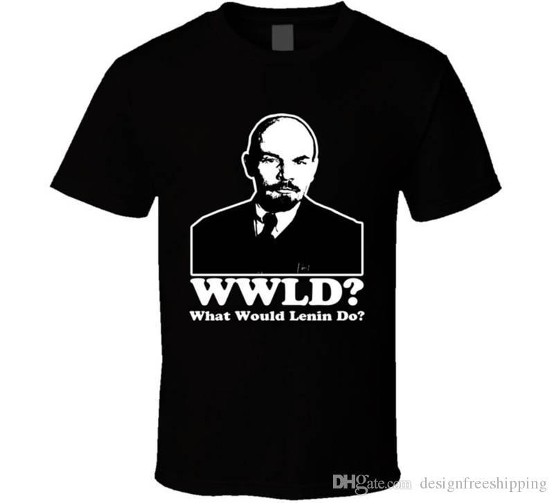 Cotton Casual Shirt White Top Short Sleeve Printed Crew Neck Lenin Wwjd Tee For Men