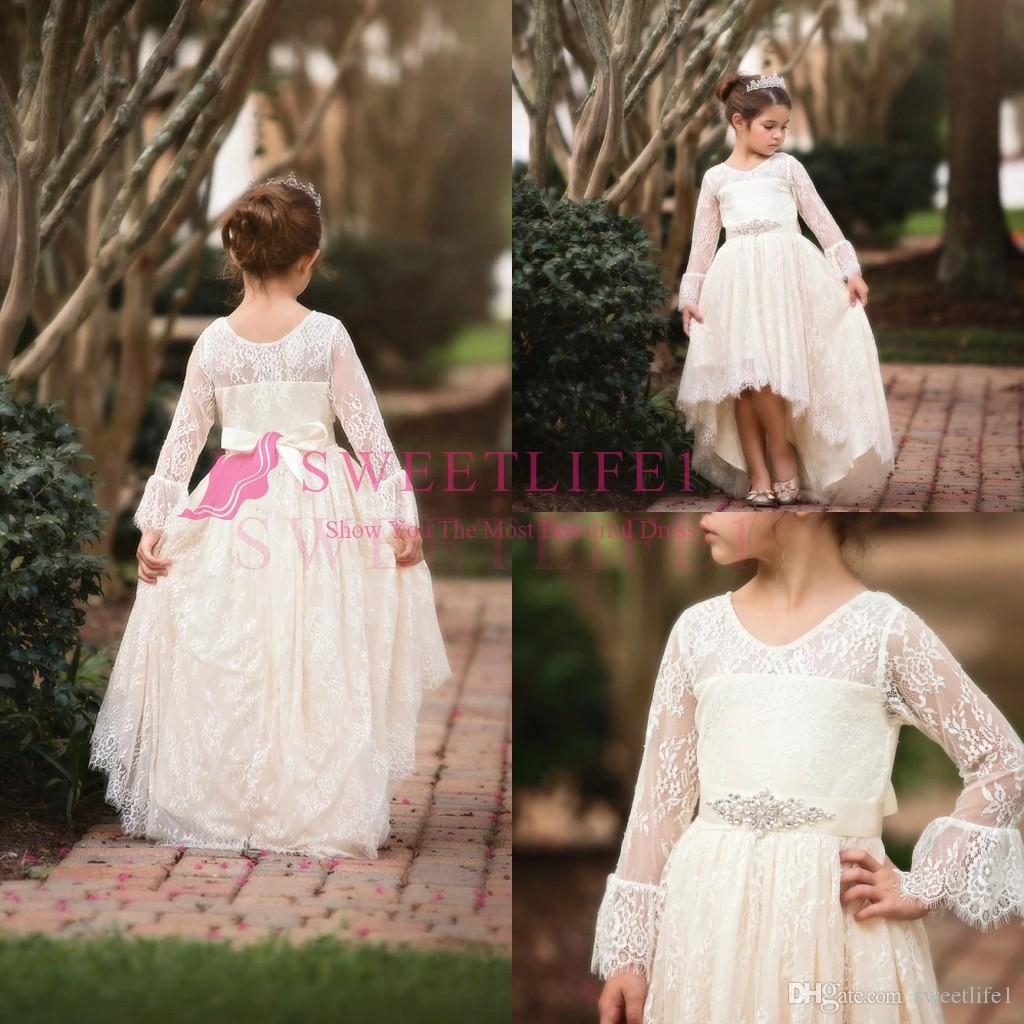 fa70ea76dade8 2019 Cute Ivory Lace Flower Girls Dresses Hi Low Long Sleeve First  Communion Dresses Girls Pageant Gown For Country Style Custom Made Little Girl  Flower ...
