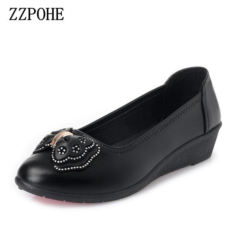 e1b9ff769585 Designer Dress Shoes ZZPOHE 2019 Spring Autumn Soft Leather Women S Pumps Fashion  Women Mid Heel Wedge Woman Slip On Casual Orthopedic Shoes Comfortable ...