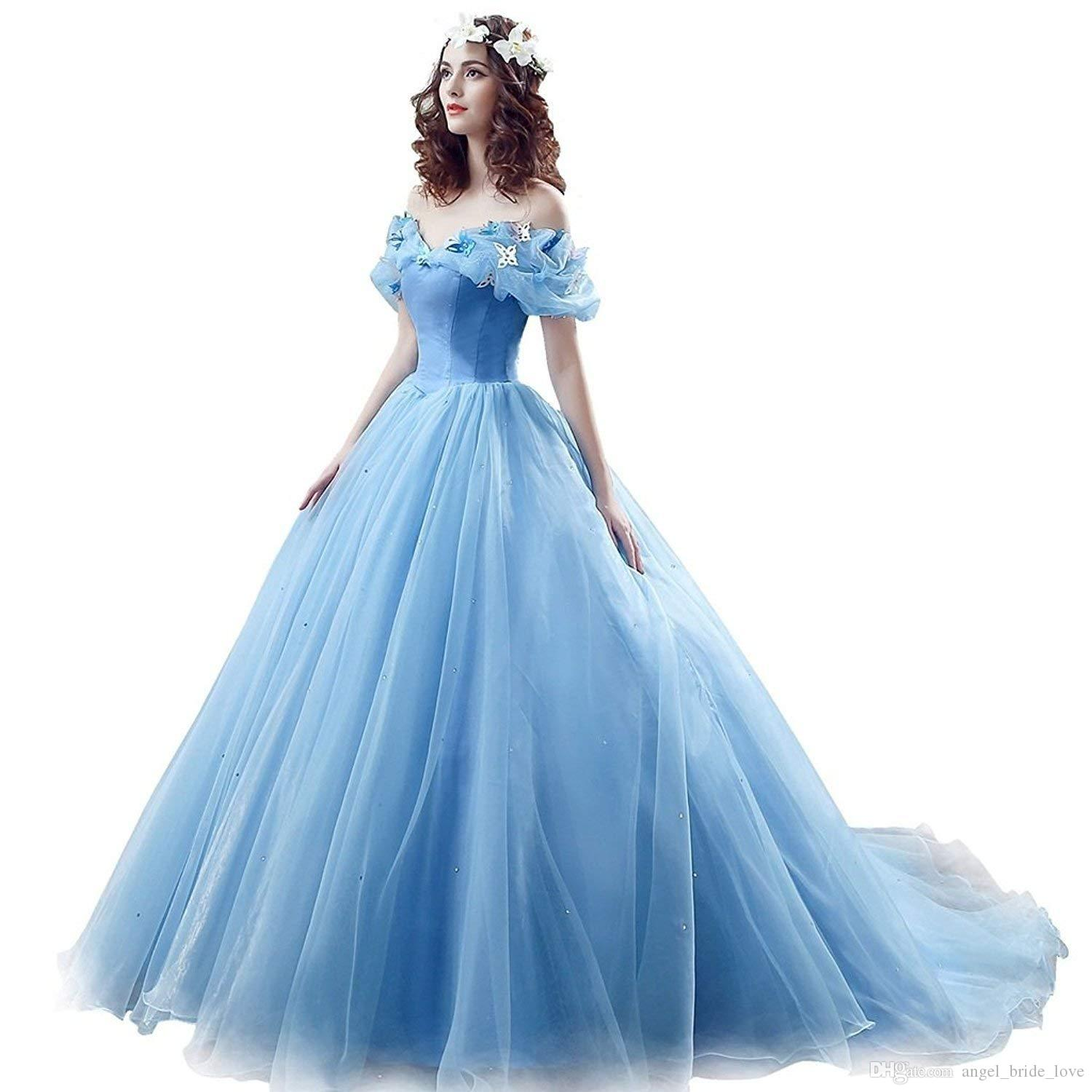 e1a0d43a7b3 2019 Newest Cinderella Quinceanera Dresses With Butterfly Beads Sweet 16  Prom Pageant Debutante Dress Formal Evening Prom Party Gown AL15 Quinceanera  ...