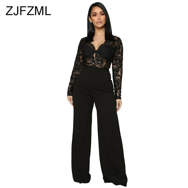 c1b64b10cc2 2019 Black Lace Patchwork See Through Jumpsuit Women Sexy DeepV Neck Long  Sleeve Wide Leg Romper Elegant Hollow Out Back Zip Bodysuit From Junxcj