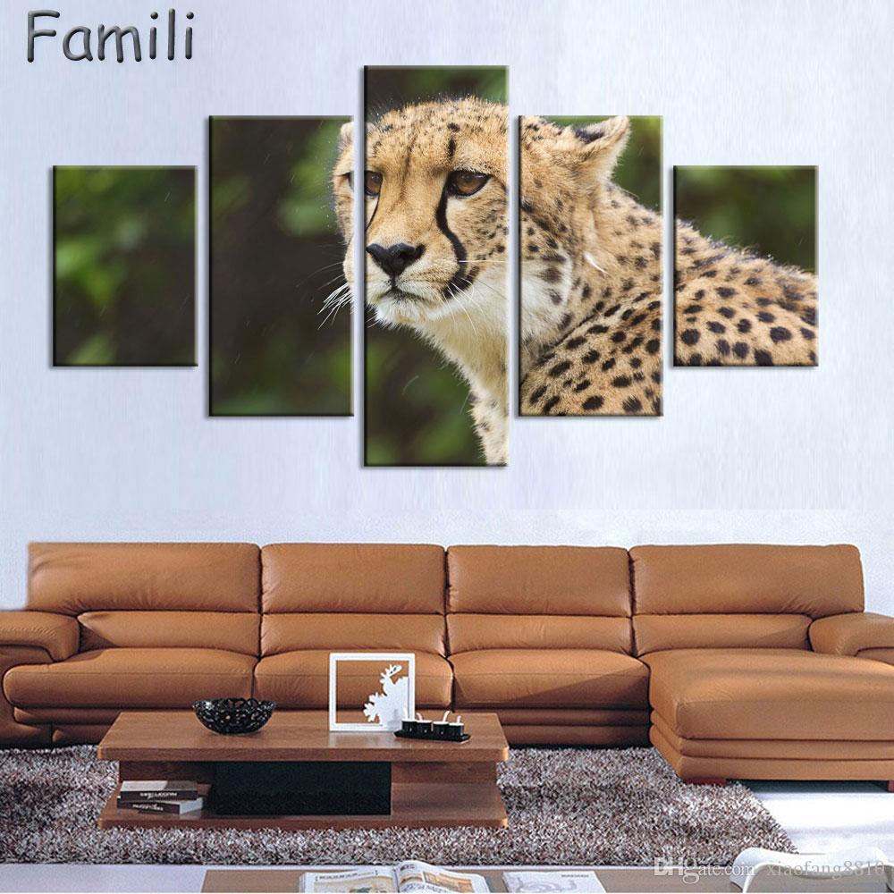 Compre 5 Paneles Modernos Pinturas Murales De Animales Leopardo