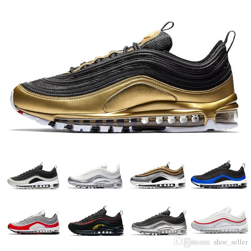 3c13cf8a2b New 97 97s QS Metallic Pack Running Shoes For Mens Women Sneakers Designer Men  Trainers Silver Gold Black White Gym Red Sports Shoe Shoes Sports Spikes ...