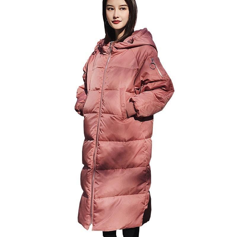Femmes Hiver Rose Vers Le Bas Parka À Capuche Chaud Long Blanc Canard Vers Le Bas Veste Femme 2018 Nouvelle Couleur De Mode Manteau De Plume