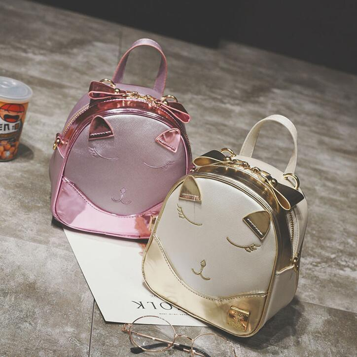 67ad93edcfaf 2019 Fashion New Women Backpacks High Quality Pu Leather Female Bag Cute Cat  Shoulder Bag Sweet Lady Cartoon School Bag Backpack Black Backpack Camera  ...