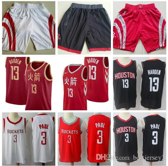 89d0976dc 2018 New Houston Jerseys Rockets Shorts 3 Paul 13 Harden 7 Anthony Red And  White Black Jerseys And Shorts Online Shirt Shirts For Sale From  Bestjersey2
