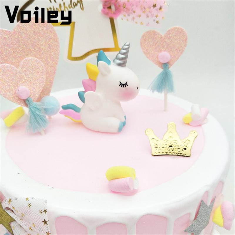 2019 Voiley Wedding Decorations Babyshower Unicorn Cake Topper For