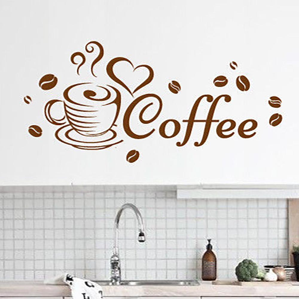 Coffee Cup Lover Wall Sticker Home Quotes Inspirational Love Living Room Kitchen Decoration Vinyl Decals