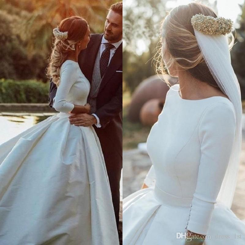 b374a6d058c8 Discount Winter 2018 Simple Vintage Wedding Dresses Long Sleeve Low Cut  Back Ivory Satin Chapel Train Retro Bridal Gowns Custom Made Size Wedding  Dresses ...
