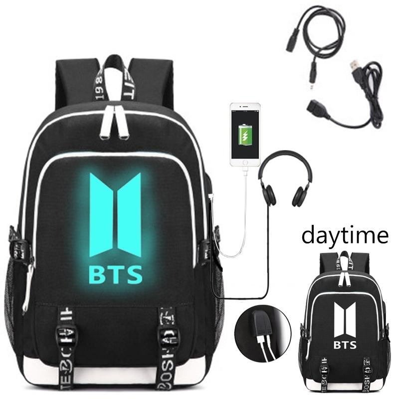 Boys Christmas Present.Christmas Gift For Girls Boys Luminous School Backpack Bangtan Canvas Shoulder Schoolbagpack With Usb Charging