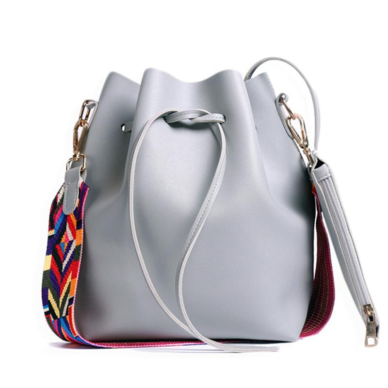 Gute qualityWomen Tasche Mit Bunten Strap Bucket Bag Frauen Pu Leder Schultertasche Marke Designer Damen Crossbody Messenger Bags