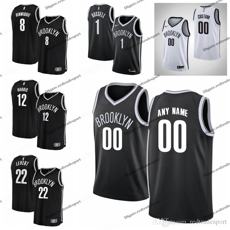 uk availability 72a7c 662ea Printed Brooklyn City Nets Spencer Dinwiddie Caris LeVert Joe Harris D  Angelo Russell 1 Jarrett Allen Edition Basketball Jersey